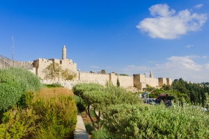 The old city walls of Jerusalem, and the tower of David. Jerusalem, Israel