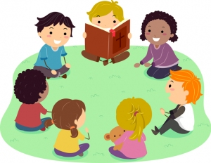 Illustration of Stickman Kids Sitting in Circle Outdoors Reading a Bible